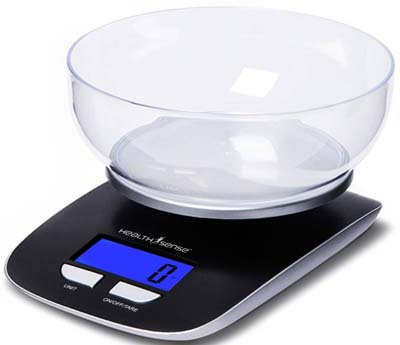 healthsense digital kitchen scale with bowl
