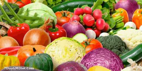 gm diet day 2 vegetables list